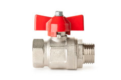 Ball valve. Plumbing device. Placed on white Stock Image