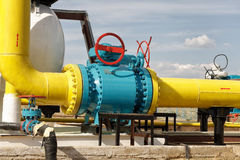 Ball valve on a gas pipeline. Stock Photo