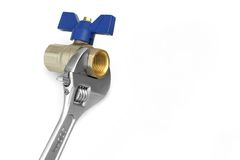 Ball Valve Grabbed With Adjustable Wrench  On White Royalty Free Stock Image