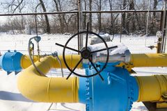 Ball valve installed on the gas pipeline Stock Photo