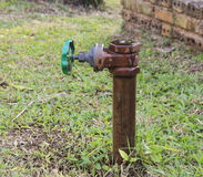 Ball valve and metal pipe in garden Stock Photography