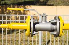 Ball valve in the open position on the pipeline Royalty Free Stock Image