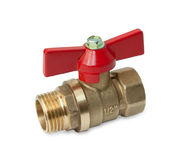 Ball valve with red handle Stock Photo