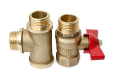 Ball valve and tee Stock Image