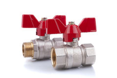 Ball valves. On a white background Stock Photo