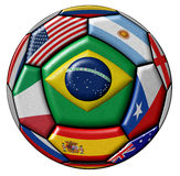 Ball With Various Flags. Football ball - soccer - with flags isolated on white background Royalty Free Stock Images
