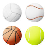 Ball-Vektorsatz mit vier Sport lokalisiert Lizenzfreie Stockfotografie