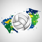 Ball volleyball olympic games brazilian flag colors. Vector illustration eps 10 Royalty Free Stock Photography
