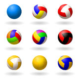 Ball for volleyball. set of multi-colored balls for volleyball, pioneball, handball. Sport and recreation. Objects on white backgr Royalty Free Stock Photos