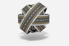 Ball von verwirrten Straßen Stockbild