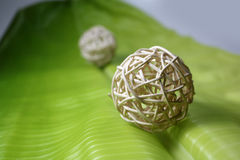 Ball weave with banana leaves . stock photos