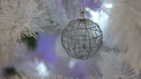 Ball on a white Christmas tree stock video