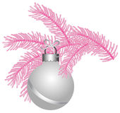 Ball white matte pink Tree. Ball white matte Christmas pink Tree Royalty Free Stock Photography