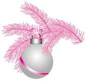 Ball white matte pink Tree Ribbon. Ball isolated white matte Christmas pink Tree Royalty Free Stock Photography