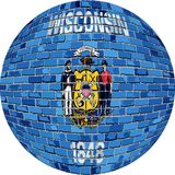 Ball with Wisconsin flag - Illustration Royalty Free Stock Photo