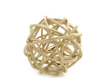 Ball of wood. Ball made of rattan on a white background Stock Photos