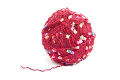 Ball of wool. Burgundy on a white background royalty free stock image