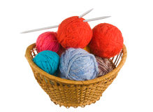 Ball of wool in basket Royalty Free Stock Image