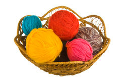 Ball of wool in basket Stock Photos