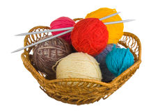 Ball of wool in basket Stock Photo