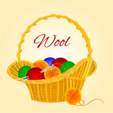 Ball of wool in basket vector. Ball of wool in basket  homemade knitting vector illustration Stock Image