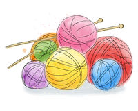 Ball of wool doodle watercolor Royalty Free Stock Photos