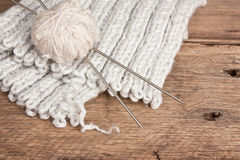 Ball of wool and needles Royalty Free Stock Photos