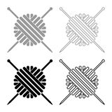 Ball of wool yarn and knitting needles icon set grey black color. Outline vector illustration