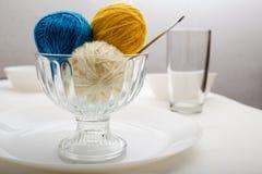 Ball of wool yarn, which lie like dessert Stock Photos