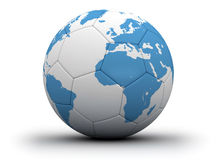 Ball and world map. White soccer ball with blue world map Royalty Free Stock Images