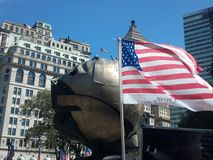 Ball from wtc survived. Flag and ball  from wtc and freedom tower Royalty Free Stock Photography