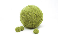 Ball of yarn. Green thread ball isolated on white background royalty free stock photography