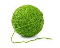 Ball of yarn. Green wool yarn ball isolated on white royalty free stock photo