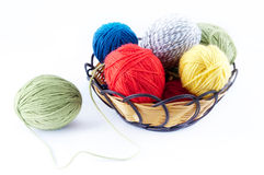 Ball of yarn. Colorful ball of yarn in the white background royalty free stock photography