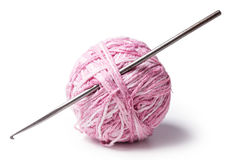 A ball of yarn with crochet Royalty Free Stock Photography