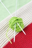 Ball of yarn on knitted fabrics Stock Photos