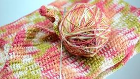 Ball of yarn for knitting, crochet (knitting) stock video