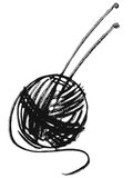 Ball of yarn and knitting needles Stock Photos