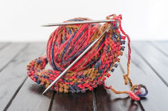 Ball of yarn. And knitting needles Royalty Free Stock Image