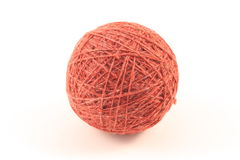 Ball of yarn. Ball of red yarn on white Royalty Free Stock Photos