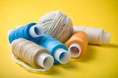 Ball of yarn and spools of thread Royalty Free Stock Photo