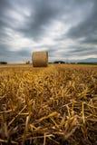 Balla del frumento e nubi di tempesta Fotografia Stock