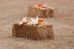 Balla di fieno decorata con le zucche ed il cereale Immagini Stock Libere da Diritti