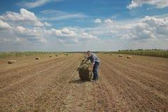 Balla di fieno nel campo ed in agricoltore Fotografie Stock Libere da Diritti