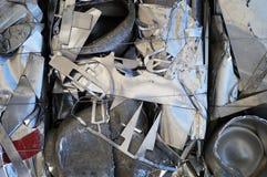 Balla schiacciata del primo piano di alluminio dello scarto Fotografie Stock Libere da Diritti