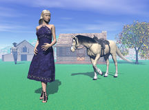 Ballad Of Josie. Computer generated scene of a young man and woman on their ranch Stock Photos