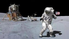 Ballando dell'astronauta sulla luna Elementi di questo video ammobiliato dalla NASA illustrazione vettoriale