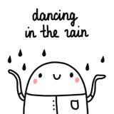 Ballando nell'illustrazione sveglia della pioggia con l'acclamazione della caramella gommosa e molle e la goccia felice di pioggi illustrazione vettoriale