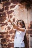 Ballando nella rovina Fotografia Stock