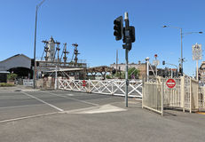The Ballarat Railway Station, opened on April 11, 1862, has the largest surviving interlocking swing gates in Victoria Royalty Free Stock Images